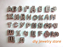 32pcs 8mm Full Rhinestone Russian Slide Letters Charms Fit DIY Pet Dog Tag Collar Wristband