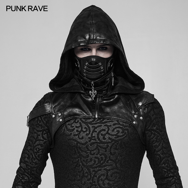 PUNK RAVE Gothic Performance Punk Rock Unisex Steampunk Party Cospaly Hooded Black PU Accessory  Crack Skin Fabric Stitching