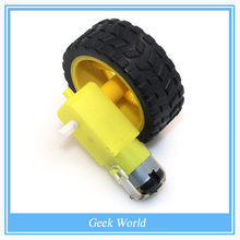 Free shipping Smart Car Robot Plastic Tire Wheel with DC 3-6v Gear Motor for Arduino
