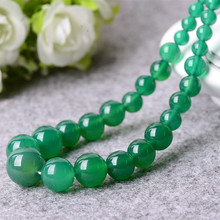 Natural Green Chalcedony Necklace Round Beads Tower Necklace Gift for Fashion Women Jades Stone Jewelry