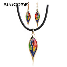 Blucome Latest Enamel Leaves Long Earrings Necklace Set Wedding Women Girls Jewelry Sets Black Rope Chokers Pendants Pendientes(China)