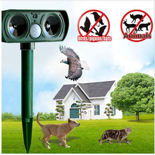 Free Shipping Wholesale animal repeller Solar Powered Ultrasonic Cat Repeller Chaser Garden Animal Scarer Deterrent Repellent(China)