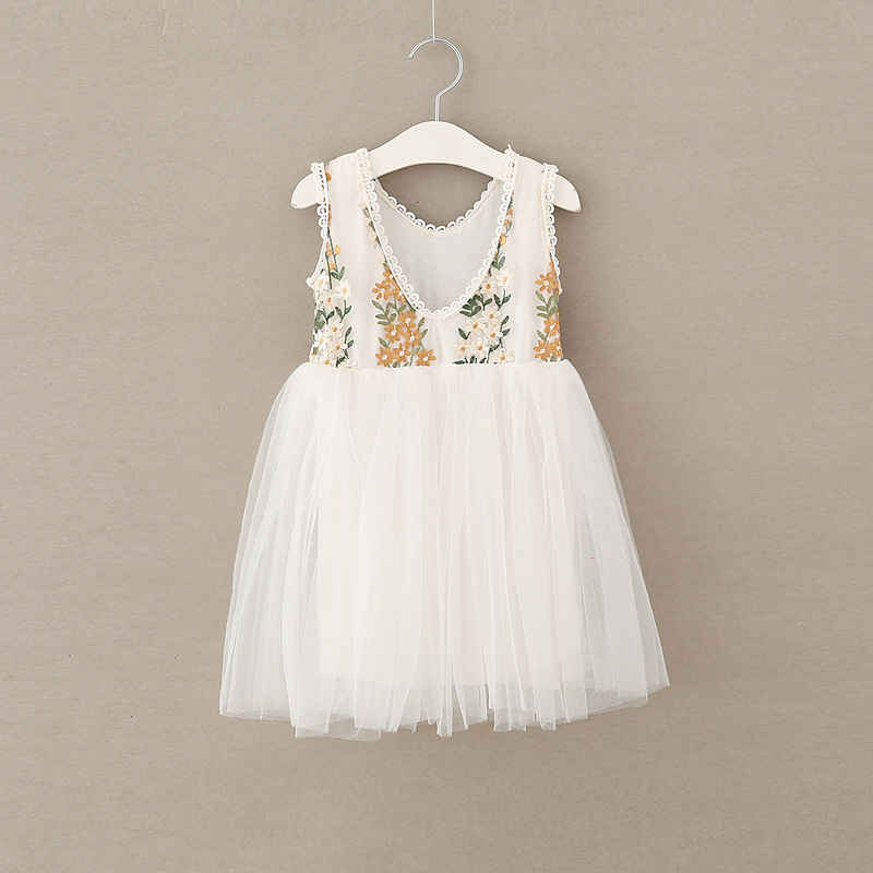 Kids Embroidery Clothes Baby Girls Princess Mesh Flower Floral Dresses Autumn Spring Children Lolita Clothing Wholesale 5pcs/LOT