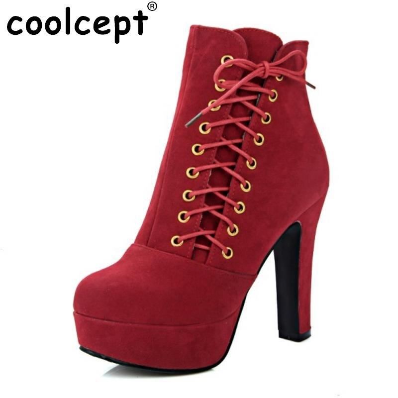 Coolcept Women Ankle Boots Cross Strap Solid Color High Heels Shoes Women Platform Fashion Ladies Dress Footwear Size 32-48<br>