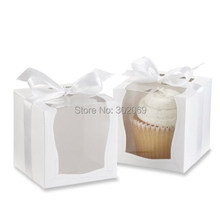 NEW DESIGN Single Wedding 9x9 Cupcake Boxes/Wedding Gift Box/ Favor Box with Insert 48pcs