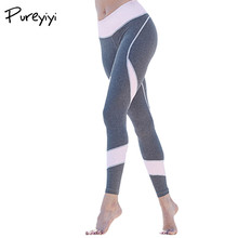 Buy Pureyiyi Push Fitness Leggings Womens Elastic Waist Patchwork Sporting Leggings Grey Pants Workout Adventure Time Legging for $11.95 in AliExpress store