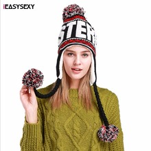 iEASYSEXY Women Colorful Balls Letters Autumn Caps Fashion Hat Female Winter Ear Protection Mongolia Cap Hang Balls Knitted Hat