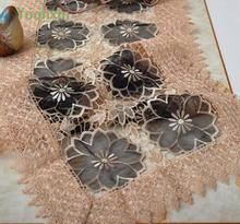 43*180CM Luxury black organza Table Runner embroidered tea lace table cloth cover towel Christmas tablecloth home Wedding decor(China)