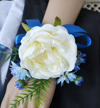 4 pieces lot Brides Bridesmaids Wrist Rose Flower Royal Blue ribbon Corsage Party Prom Bridal Girls Favors Wedding accessories