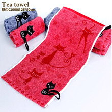 Tea towel cotton child-towel Fashion cartoon cat towels Free shipping face towel Deep color