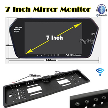 Wireless HD 7'' TFT LCD 1024*600 Auto Mirror Monitor Bluetooth MP5 European License plate Rear View Camera Parking Assistance