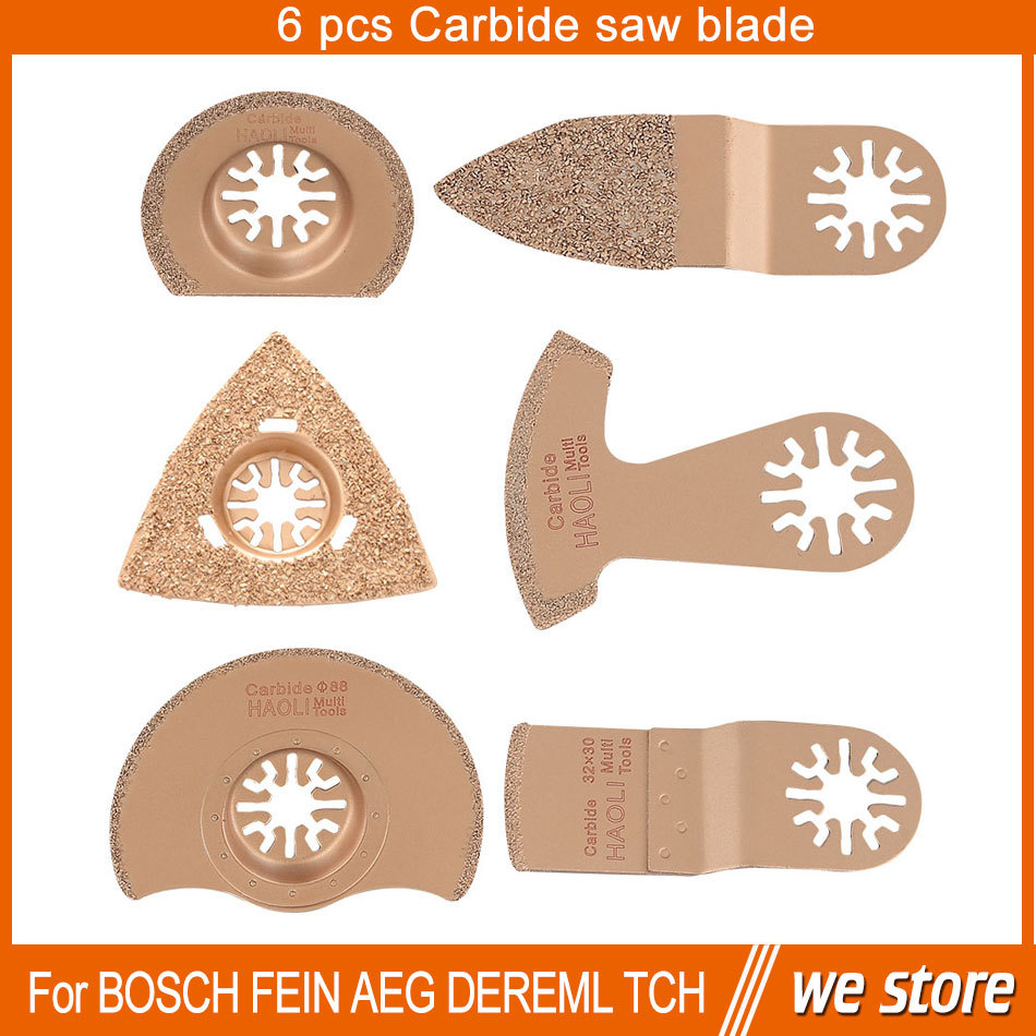 6 pcs carbide segment oscillating multi tool saw blade accessories for power tool as Fein multimaster,Dremel, cutting grooves<br><br>Aliexpress