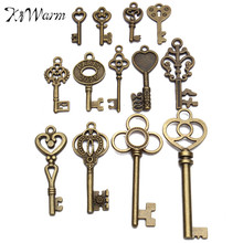 Hot Selling DIY Antique vintage Old Look Key Lot Pendant Heart Bow Lock Steampunk Jewel For Home Metal Crafts Decor(China)