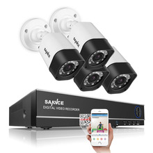 SANNCE 4CH 720P DVR Surveillance System and (4)HD 1.0 MP Outdoor Fixed Security Cameras with P2P & QR Code Scan Easy Remote