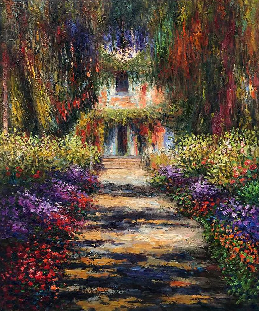 Thick Textured Oil Painting Modern Canvas Wall Art Landscape Painting Monet's Garden Path at Giverny by Claude Monet Handpainted(China (Mainland))