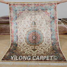Yilong 4'x6' Handmade carpet beige medallion design vantage antique persian rugs value (0620)(China)