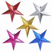 Free shipping (5pc/lot) Mixed colour Paper Stars Hanging Star For Christmas Tree Home Party wedding Decorations Christmas Ideas(China)