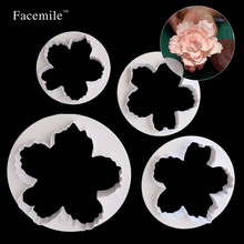4Pcs/Set Peony Petals Fondant Embosser Cake Cutter Mold Cookie Decorating Fondant Baking Pastry Tool Paste Cake Press Mold 51054(China)