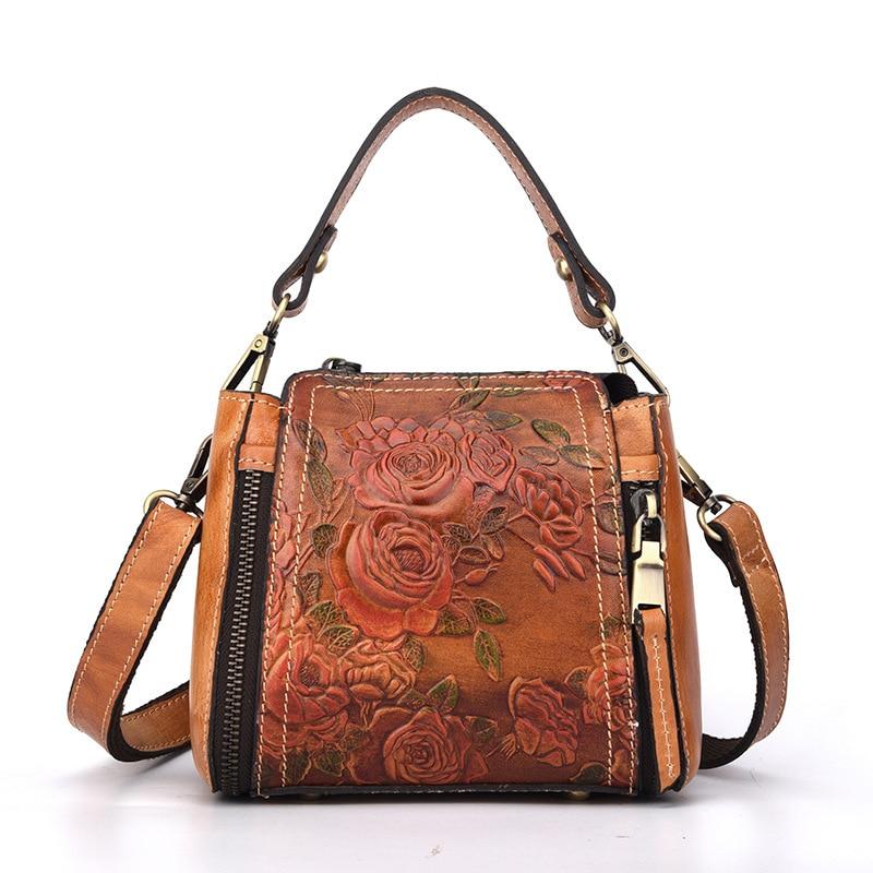 Womens Handbag Genuine Leather Handmade Vintage Embossed Rose All-match Retro Portable Shoulder Messenger Bag Bucket Bag Totes<br>