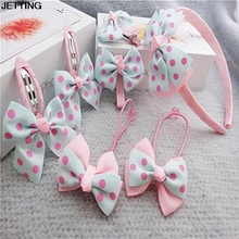 Hair clip Wholesale 7pcs Headwear Set Rubber Band Accessories Printing Dot Bow Headband(China)