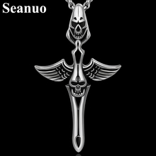 Seanuo Hollow titanium stainless steel angel cross pendant necklace for cool men fashion charm rock skeleton skull male necklace