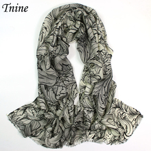 Women's Hand Painted 100% Merino Wool Pashmina Scarf Cashmere Scarves Shawl Ladies Flower Leaves Printed Scarf Wrap Foulourd