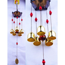 Large 5 Bells Copper Wind Chimes Antirust Bell Outdoor Decorations Lucky Metal Pagoda Best Wishes Home Decoration Windchime(China)