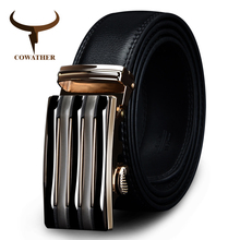COWATHER 2017 luxury men`s genuine leather belts for men automatic alloy buckle big size top quality 110-130cm cz030 huaqiang(China)