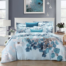 Chinese style blue green pink purple leaf 100% natural tencel silk 4pcs bedding set comforter/duvet cover pillowcase suit/3089