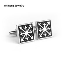 Black Enamel Jewelry Game Accessories Warhammer 40k Chaos Star Cufflink Fashion Vintage Square Brand Cufflinks For Men