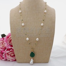 N090606 26'' White Rice Pearl Green Crystal Chain Necklace Keshi Pearl Pendant(China)