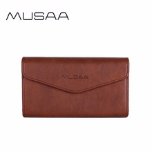 MUSAA Fine Vintage Women Wallet 2017 Card Holder Coin Pocket Fashion Envelope Clutch Small Square Bag PU Leather Organizer Purse(China)