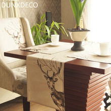 DUNXDECO Table Runner Placemat Tablecloth Party Decoration Linen Look Blend Fabric Deer Embroidery Nordic Pattern