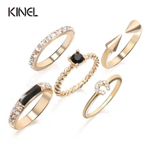 Luxury Black Enamel Rings For Women Gold Crystal Joint Ring Sets Combination Vintage Jewelry 2017 New