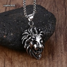 "Men's Vintage Big, Bold Lion Pendant Necklace for Men Animal Stainless Steel Silver-color Black Pendant Choker Bike Jewelry 24""(China)"