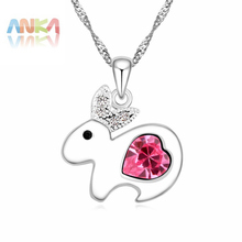 Birthday Accessories Chinese Zodiac Crystal Rabbit Necklace rhodium plated necklace women Crystals from Austrian #106697