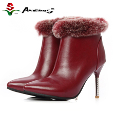 Anvenus Warm Winter Boots Women Leather Pointed Toe Zip Real Fur Thin High Heels Ladies Girls Short Ankle Boot Shoes Red Black(China)