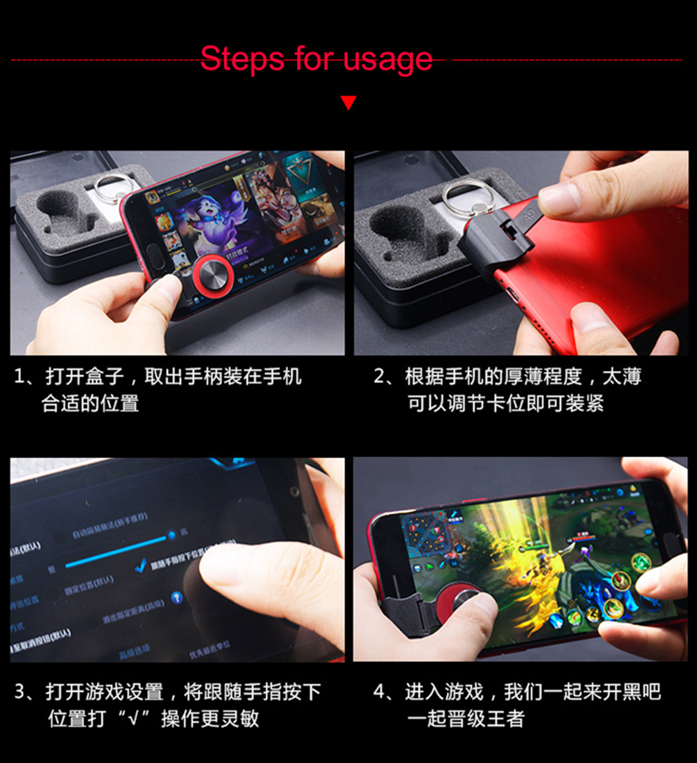 Mobile Phone Joystick Smartphone Mini Touch Screen Joystick Universal Clip-on Clamp for Phone Tablet Arcade PUGB Game Joystick Victoria-ACX