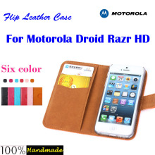 Free shipping Flip leather case for Motorola DROID RAZR HD XT926 case with credit card slot,6 candy colors in stock(China)