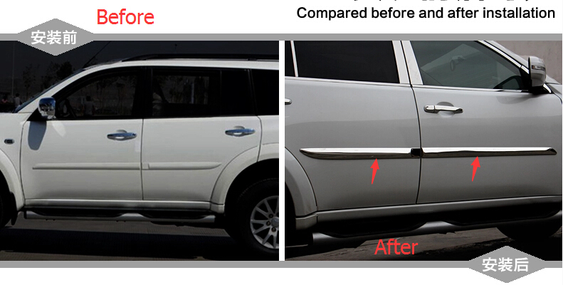 Protector For Mitsubishi pajero sport 2011-2014 Metal Side Door Body Molding Cover Trims 4pcs / set<br><br>Aliexpress
