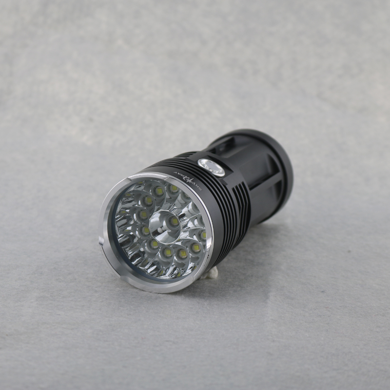 24000Lumens 14xCREE XM-L T6 LEDs Torches High Low Storbe 3 Modes White Lights SKY RAY Flashlights Black Golden Color<br>