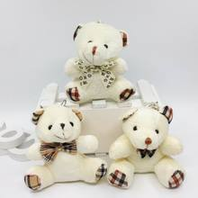 Hot Sale Sit High 9 cm Plaid Bow Teddy Bear Toys Soft Plush Baby Toy Party Bouquets Accessories wedding bouquets 3 Colors 12 pcs