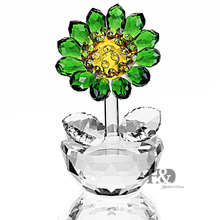 H&D Crystal Sunflower Figurine Ornament Paperweight Home Decor(China)