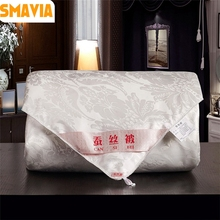 SMAVIA 100% Silk Comforter Soft Polyester Fabric Handmade Chinese Silk Quilt 4 Seasons Blankets Accept Custom size/weight(China)