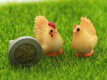 1 Pair Chicken Combination Miniatures Fairy Garden Decorations Resin Bonsai Figurine Gnome Moss Animals Garden Home Toys Gifts(China)