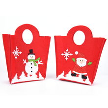 1PCS Red Christmas Gifts Bag Santa Claus Snowman Bottle Wine Handbags Cartoon Bottle Cover Hand Bags(China)