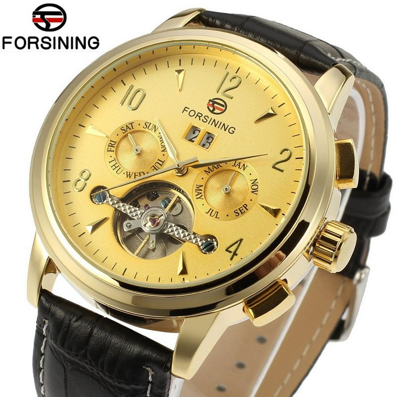 Forsining Casual Relogio Masculino Gold Dial Day/Week/Month Tourbillion Auto Mechanical Watch Wristwatch Free Ship<br>