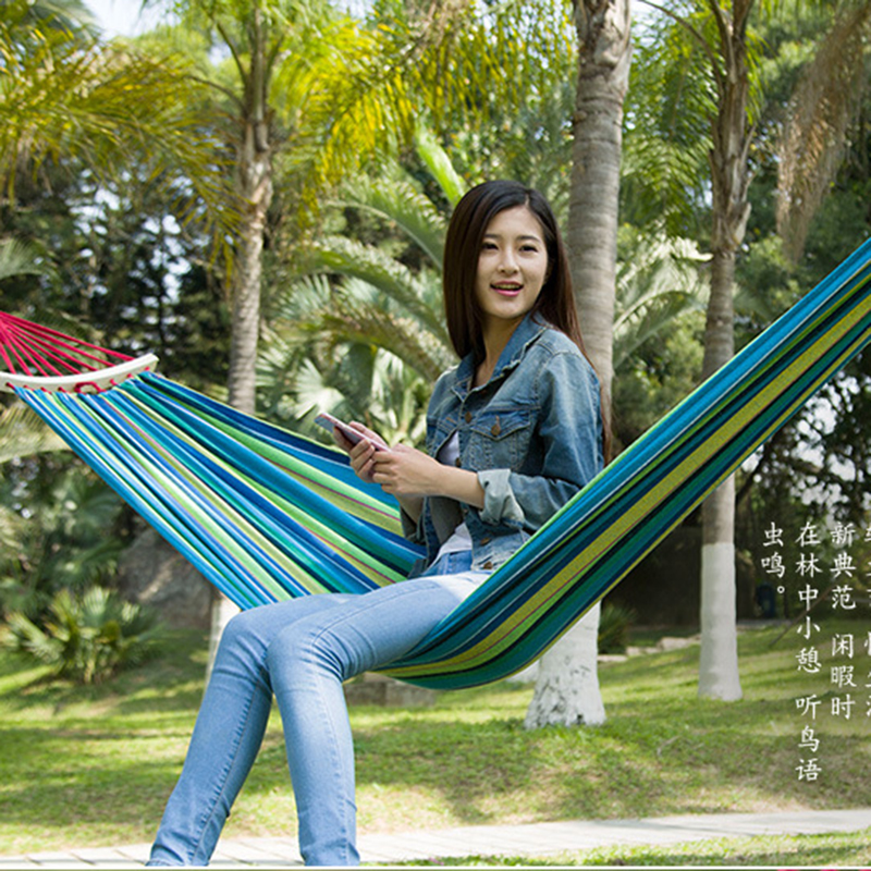 Outdoor Thicken Canvas Wood Stick Camping Hammock Durable Breathable Hammocks Like Parachute for Traveling Bushwalking 200x80cm<br>