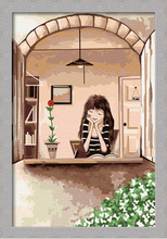 The window of meditation GIRL Framed Painting By Numbers Diy Oil  Canvas Christmas Gift Home Decoration 20x30cm