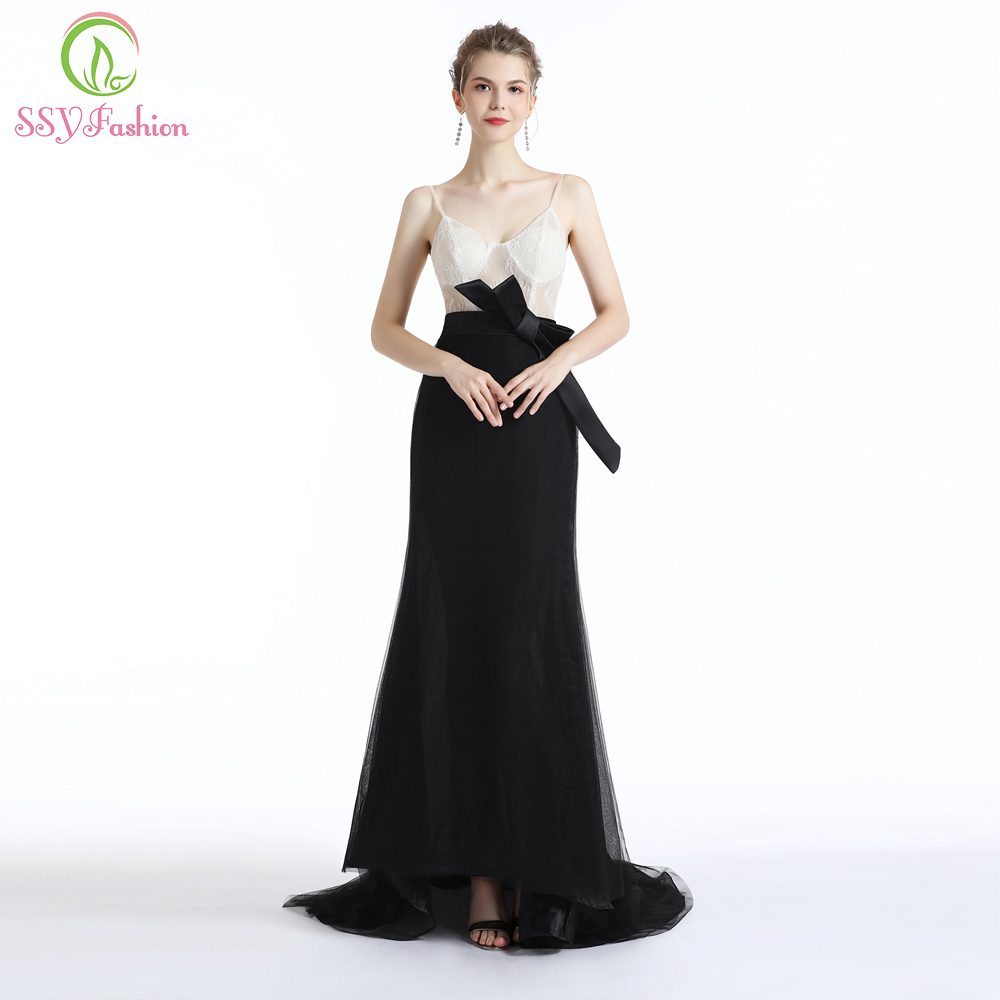 SSYFashion New Simple Evening Dress White with Black Lace Tulle Sexy V-neck Sweep Train Prom Gown Formal Dresses Robe De Soiree